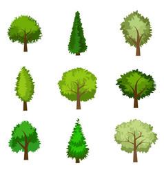 set of seasoned trees flat style vector image