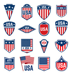 set of signs with american flag design element vector image
