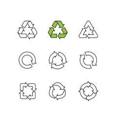 Set of sketch doodle recycle reuse symbol vector image