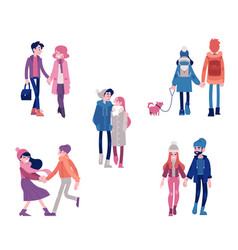 set of young boys and girls vector image
