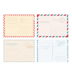 set vintage postcards vector image