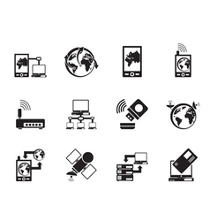 Silhouette communication and mobile phone icons vector image vector image