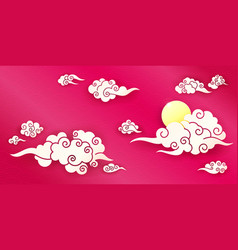 sky with chinese clouds vector image