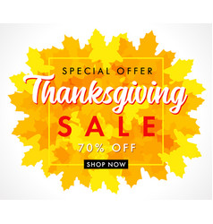special offer thanksgiving sale with orange leaf vector image