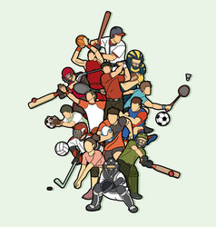 Sports mix sport players action vector