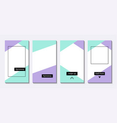 stories templates set of vertical backgrounds vector image