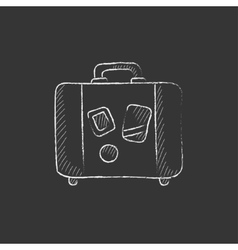 Suitcase Drawn in chalk icon vector image