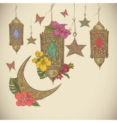 Traditional greeting card with arabic lantern vector