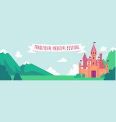 traditional medieval festival - flat cartoon vector image