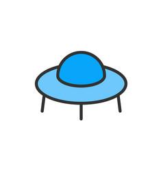 Ufo spaceship flat color line icon vector