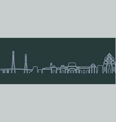 Vladivostok single line skyline vector