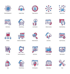Web flat icons pack vector
