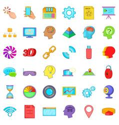 Web usb icons set cartoon style vector