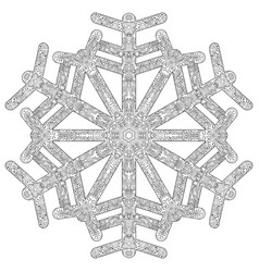 winter coloring page with anti stress snowflake vector image