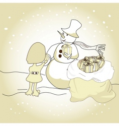 winter illustration with snowman vector image