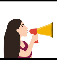 woman speaks in a sound megaphone isolated on vector image