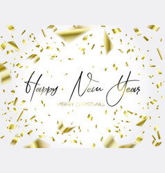 writing christmas and falling gold confetti vector image