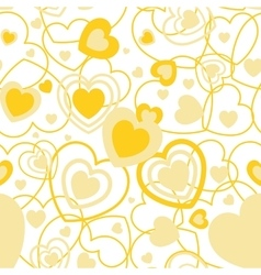 Yellow Heart shape seamless background Template vector image