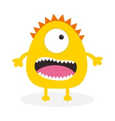 Yellow monster with one eye teeth tongue Funny vector image