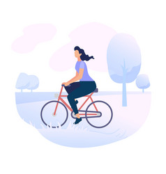 Young woman character riding bicycle in city park vector
