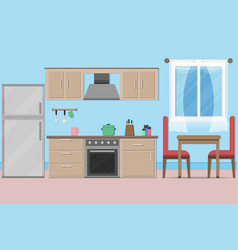 interior kitchen room design with kitchenware and vector image