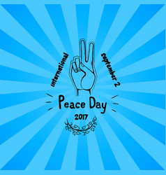 international peace day poster 21 september 2017 vector image vector image