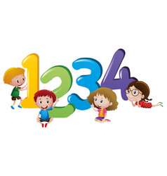 little children counting number one to four vector image