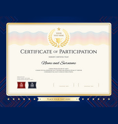 modern certificate of participation template vector image