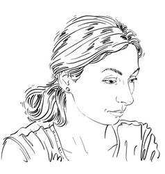Monochrome hand-drawn image sad or depressed vector