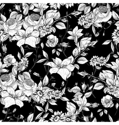 Seamless monochrome floral background with roses vector image