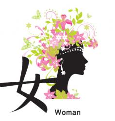 symbol and lady vector image vector image