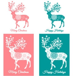 Teal and coral Christmas cards with deer vector image