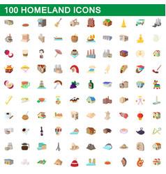 100 homeland icons set cartoon style vector image vector image