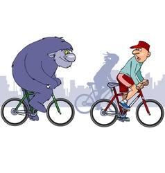 beast overtakes a cyclist on a bike vector image vector image
