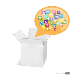 Box with application icons vector image