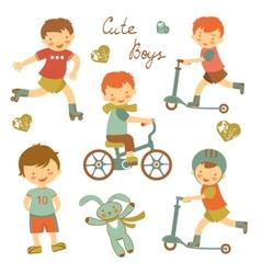 Cute little boys vector image vector image