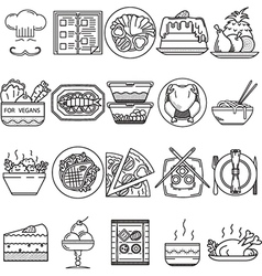 Food black line icons vector image
