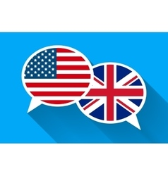 Two white speech bubbles with American and Great vector image vector image