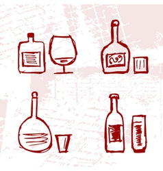 Set of alcohols bottles and wineglasses on grunge vector image vector image