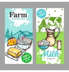 Farm Products Milk Banner Set vector image vector image