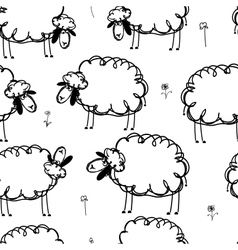Funny sheeps on meadow seamless pattern for your vector image vector image