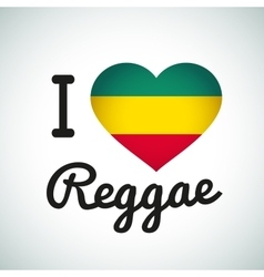 I love reggae heart jamaican music vector