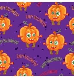 Pumpkins Happy halloween seamless patterns set vector image vector image