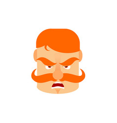 vintage irishman with red mustache angry emoji vector image vector image