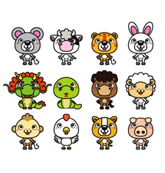 12 Chinese Zodiac cartoon animal vector