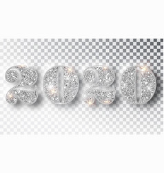 2020 glitter typography design template silver vector image