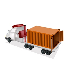 A Flatbed Trailer Delivering A Cargo Container vector image