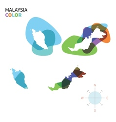 Abstract color map malaysia vector