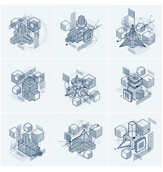 Abstract designs with 3d linear mesh shapes and vector