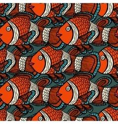 Anemonefish clownfish blue seamless pattern hand vector
